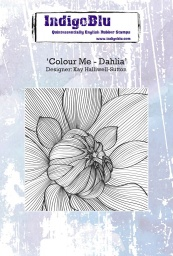 Colour Me - Dahlia A6 Red Rubber Stamp by Kay Halliwell-Sutton