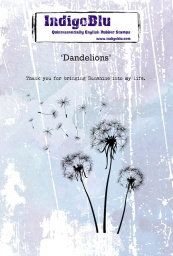 Dandelions A6 Red Rubber Stamp