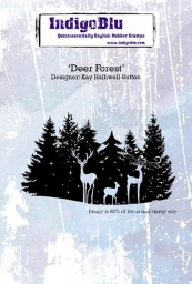 Deer Forest A6 Red Rubber Stamp by Kay Halliwell-Sutton