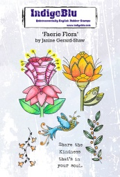 Faerie Flora A6 Red Rubber Stamp by Janine Gerard-Shaw