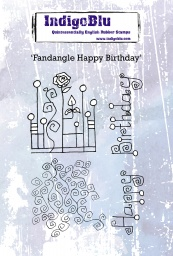 Fandangle Happy Birthday A6 Red Rubber Stamp by Kay Halliwell-Sutton