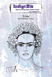 Frida A6 Red Rubber Stamp by Kay Halliwell-Sutton