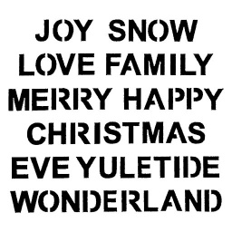 Inky Dink Stencil - Christmas Words (3x3 inch)