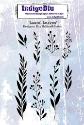 Laurel Leaves A6 Red Rubber Stamp by Kay Halliwell-Sutton