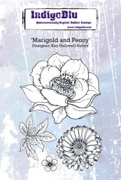 Marigold and Peony A6 Red Rubber Stamp by Kay Halliwell-Sutton
