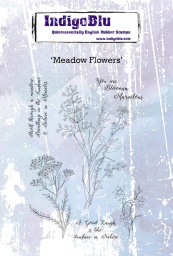 Meadow Flowers A6 Red Rubber Stamp