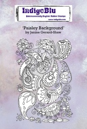 Paisley Background A6 Red Rubber Stamp by Janine Gerard-Shaw