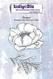 Peony A6 Red Rubber Stamp by Kay Halliwell-Sutton