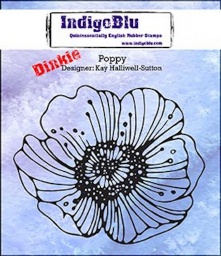 Poppy Dinkie A7 Red Rubber Stamp by Kay Halliwell-Sutton