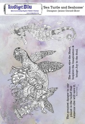 Sea Turtle and Seahorse A5 Red Rubber Stamp by Janine Gerard-Shaw