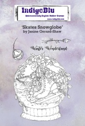 Skates Snowglobe A6 Red Rubber Stamp by Janine Gerard-Shaw