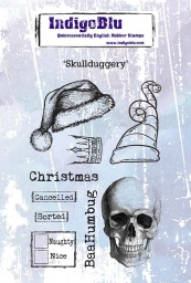 Skullduggery A6 Red Rubber Stamp by Kay Halliwell-Sutton
