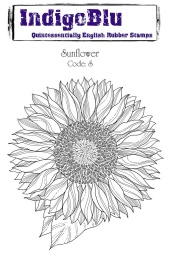Sunflower A6 Red Rubber Stamp