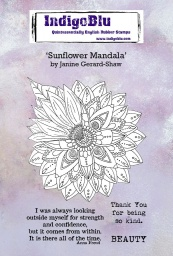 Sunflower Mandala A6 Red Rubber Stamp by Janine Gerard-Shaw
