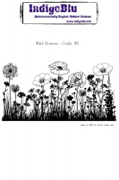 Wild Flowers A6 Red Rubber Stamp